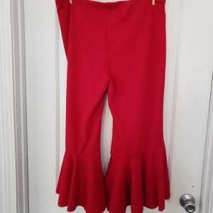 Red split flare crop pants size 2xl
